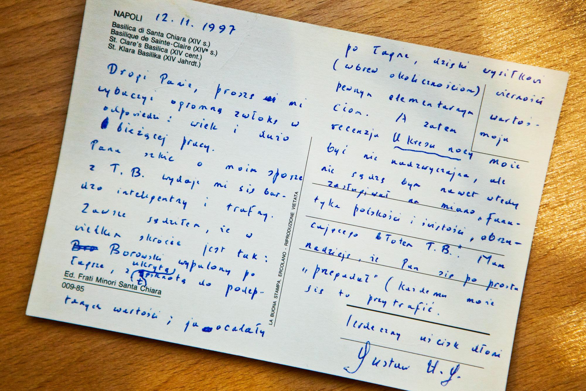 Karta pocztowa z odręcznym pisme Herliga - Grudzińskiego